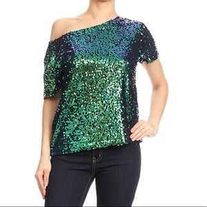 Anna-kaci California Women's Sequined Top